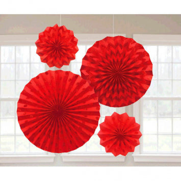 Apple Red Glitter Paper Fans 4ct.