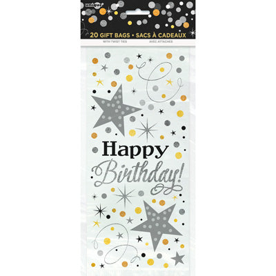 Glittering Birthday Cello Bags 20ct.