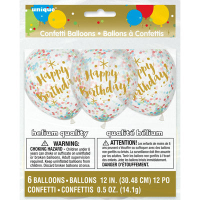 Glitzy Gold Birthday Clear Balloons with Confetti 6ct.
