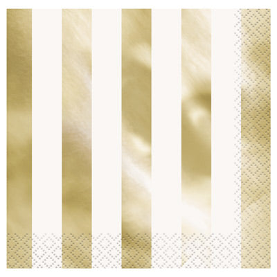 Gold Foil Striped Lunch Napkins 16ct.