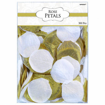 Gold/White Fabric Confetti Petals 300ct.