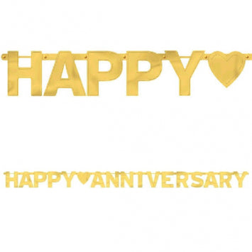 Gold Happy Anniversary Large Foil Letter Banner