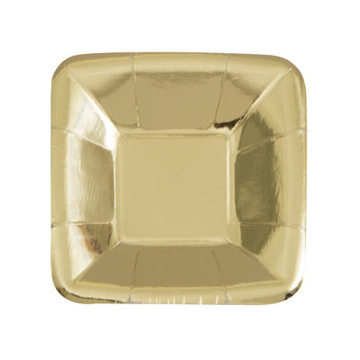 "Gold 5"" Rectangular Appetizer Plates 8ct."