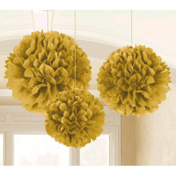 Gold Fluffy Tissue Decorations 3ct.