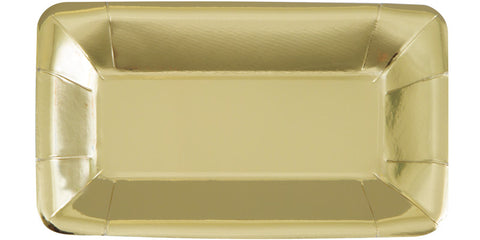 "Gold 9""W x 5""H Rectangular Appetizer Plates 8ct."