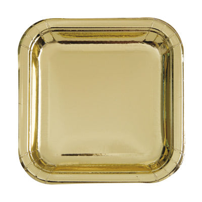 "Gold 7"" Square Plates 8ct."
