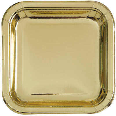 "Gold 9"" Square Plates 8ct."
