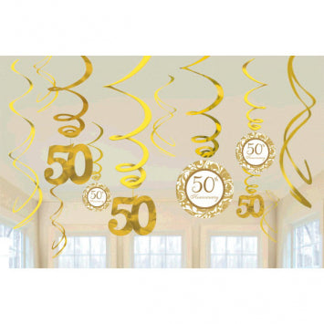 50th Anniversary Value Pack Hanging Decorations 12ct.