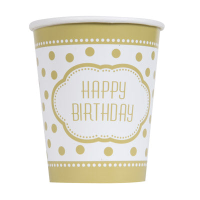 Golden Birthday 9oz. Cups 8ct.