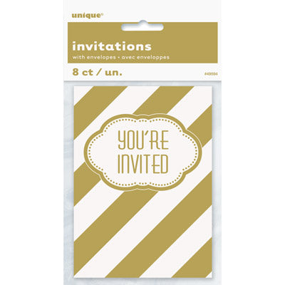 Golden Birthday Invitations 8ct.
