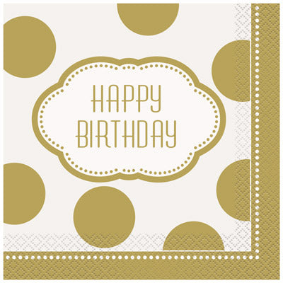 Golden Birthday Lunch Napkins 16ct.