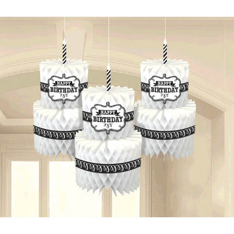 Chalkboard Birthday Honeycomb Cake Hanging Decorations 3ct.