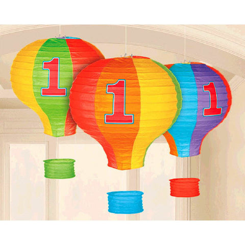 1st Birthday Rainbow Hot Air Balloon Lanterns 3ct.