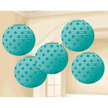 Robin's Egg Blue Mini Hot Stamp Lanterns 5ct.