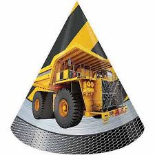 Construction Birthday Zone Paper Party Hats, Child Size, Foil 8ct.