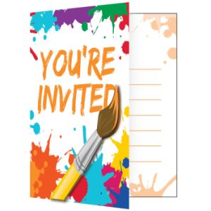 Art Party Invitation, w/ Attachment 8ct.