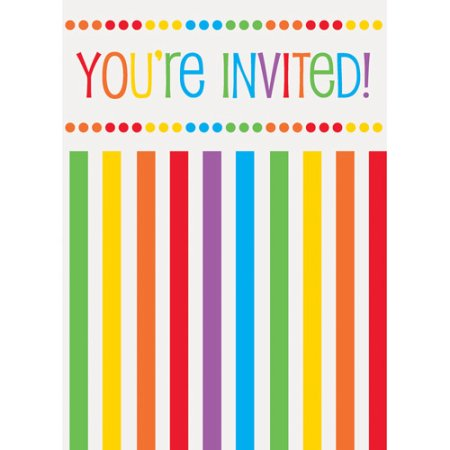 Rainbow Birthday Invitations 8ct.