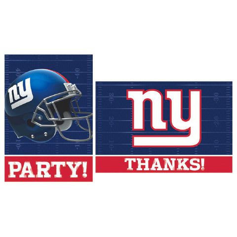 New York Giants Invitations & Thank You Card Sets 8 each
