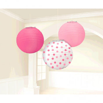 Baby Girl Round Paper Lanterns 3ct.
