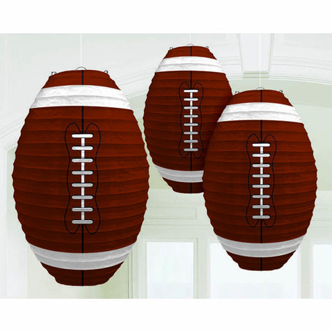 Football-Shaped Paper Lanterns 3ct.