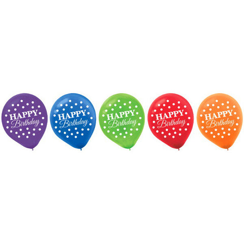 Bright Birthday Printed Latex Balloons 15ct.