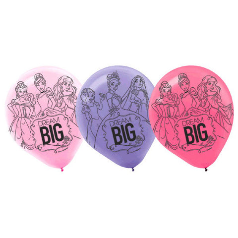 Princess Dream Big Printed Latex Balloons 6ct.