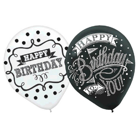 Chalkboard Birthday  Printed Latex Balloons - Assorted Styles 15ct.