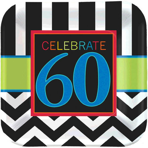 "60th Celebration Square Plates, 9"" 8ct."