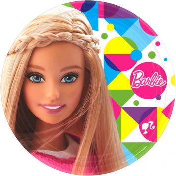 "Barbie Sparkle Round Plates, 9"" 8ct."