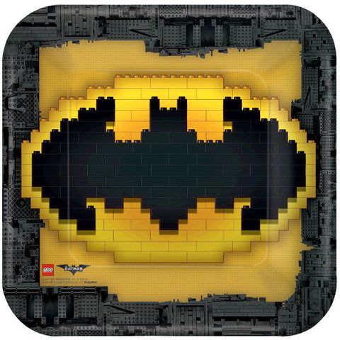 "Lego Batman Square Plates, 9"" 8ct."