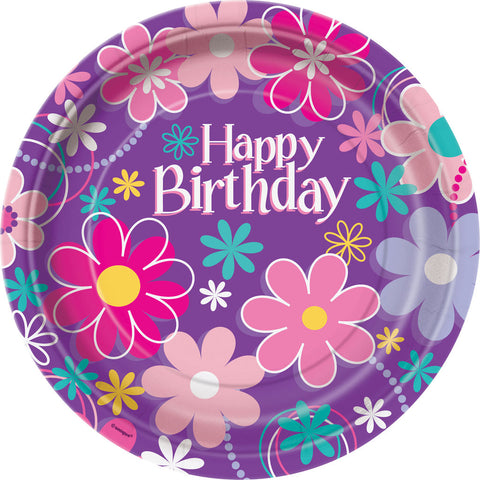 Birthday Blossom Lunch Plates 8ct.