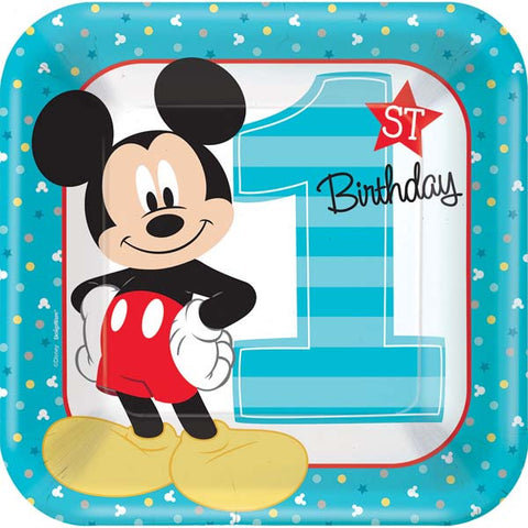 "Mickey's Fun To Be One Square Plates, 9"" 8ct."