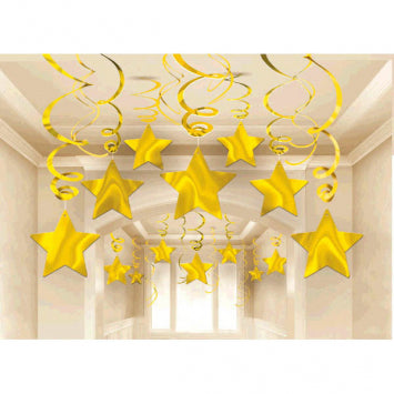 Gold Shooting Star Mega Value Pack Swirl Decorations 30ct.
