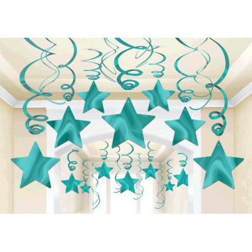 Robin's Egg Blue Foil Shooting Stars Mega Value Pack Swirls 30ct.