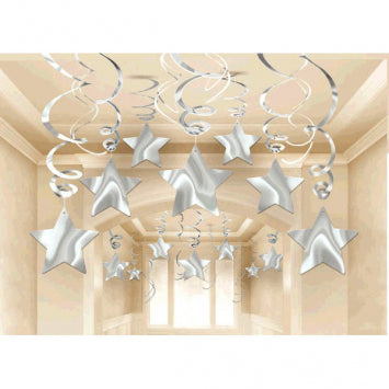 Silver Shooting Star Mega Value Pack Swirl Decorations 30ct.