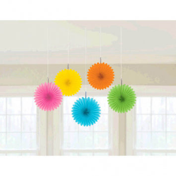 Multi Color Mini Hanging Fan Decorations 5ct.