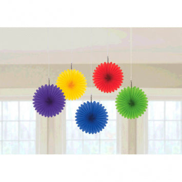 Rainbow Mini Hanging Fan Decorations 5ct.