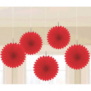 Apple Red Mini Hanging Fan Decorations 5ct.