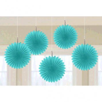 Robin's Egg Blue Mini Hanging Fan Decorations 5ct.
