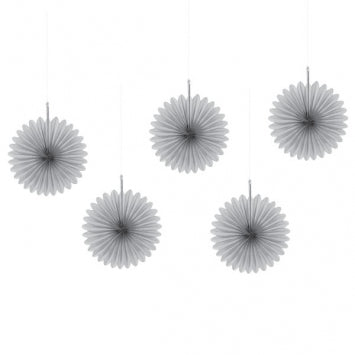 Silver Mini Hanging Fan Decorations 5ct.