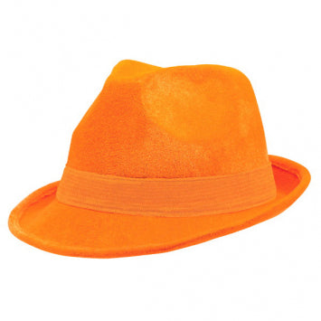 Orange Velour Fedora