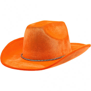 Orange Velour Cowboy Hat