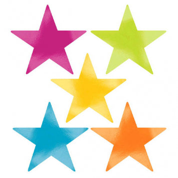 Multi Color Large Foil Star Cutouts 5ct.