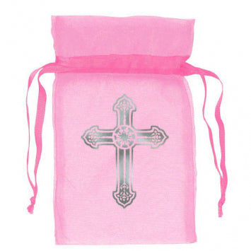 Religious Pink Organza Bags w/Cross 12ct.