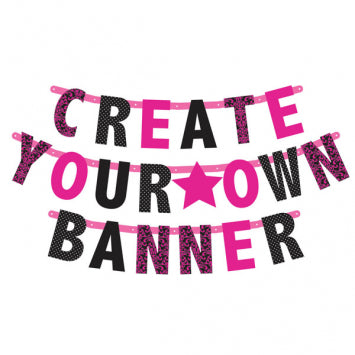 Black & Pink Customizable Letter Banner