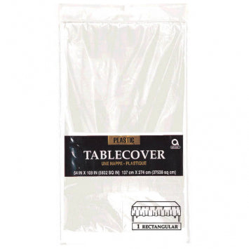 "Clear Rectangular Plastic Table Cover 54"" x 108"""