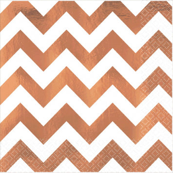 Rose Gold Chevron Hot Stamp Luncheon Napkins 16ct.