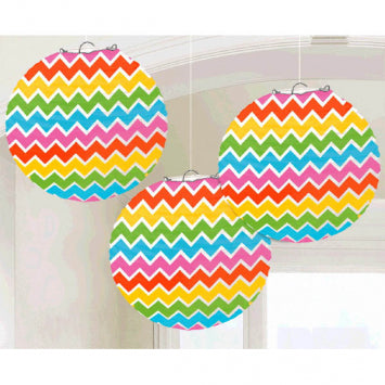 Multi Chevron Round Paper Lanterns 3ct.
