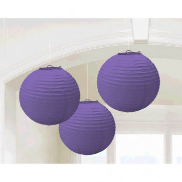 Purple Round Paper Lanterns 3ct.