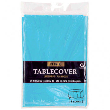 Caribbean Blue Round Plastic Table Cover 84""